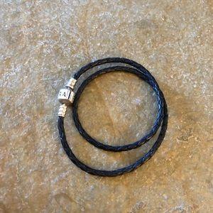 Pandora black leather charm bracelet